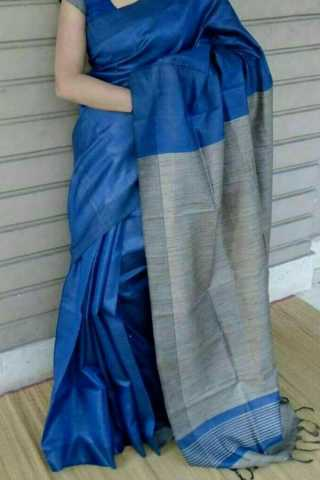Flamboyant Grey Pallu Soft Silk Fancy Partywear Functional Saree - CD224