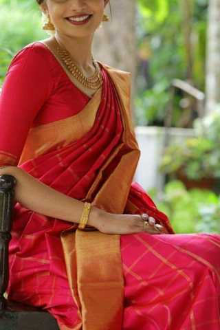 Precious Pink Colored Checks pattern Soft Silk Fancy Partywear Functional Saree - CD225