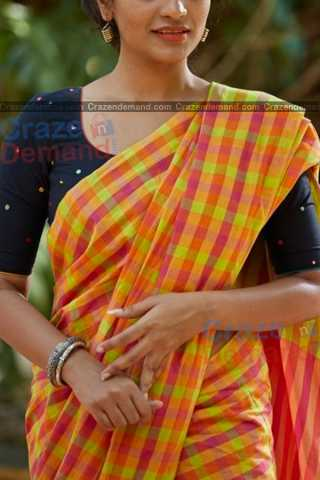 Multi Colored Checks Pattern Designer Soft Silk Partywear Saree - CD231