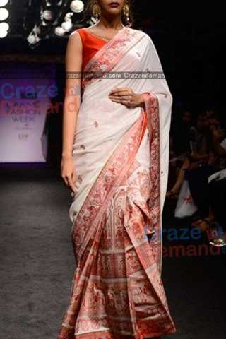 White Colored Blissful Designer Soft Silk Partywear Saree - CD240