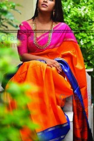 Impressive Orange Colored Designer Soft Silk Festivewear Saree - CD254