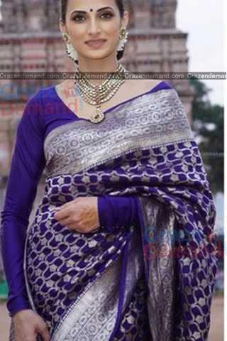 "Ravishing Blue Colored Designer Soft Silk Festivewear Saree - CD257 30"""