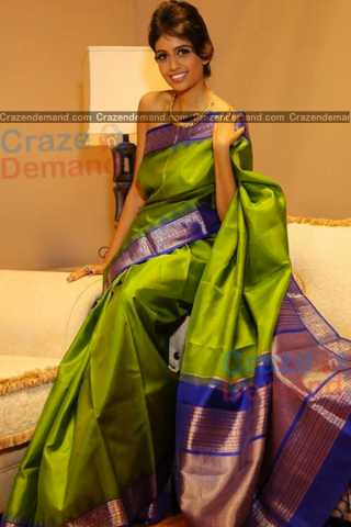 Dazzling Green Colored Karwa Chauth Special Soft Silk Festive Wear Saree - CD338