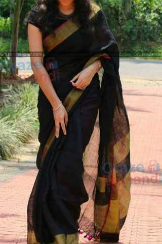 Fabulous Black Colored Karwa Chauth Special Soft Silk Festive Wear Saree - CD341