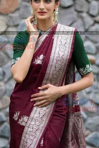 Amazing Dark Maroon Colored Karwa Chauth Special Soft Silk Festive Wear Saree - CD344