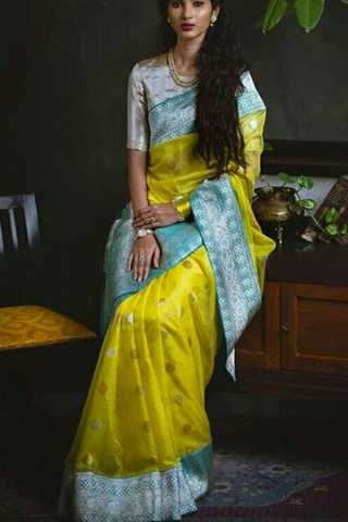 Rich Yellow Silk Saree with Blue Zari Border