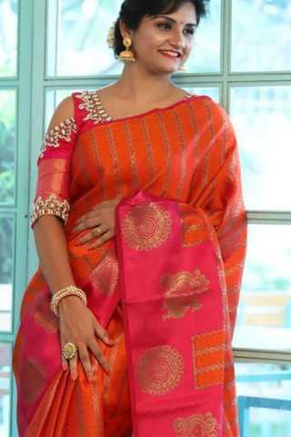 Glamorous Orange and Pink Soft Silk Saree