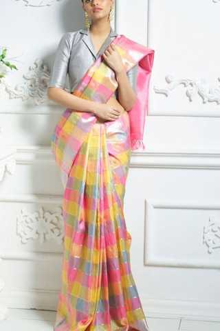 Perfect Multicoloured Pink Yellow and Blue Soft Silk Saree