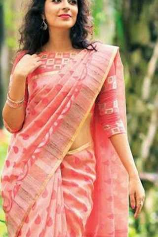 Rosy Light Pink Soft Silk Saree
