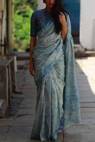 Must-Have Blue Tie and Dye Soft Silk Saree 30""