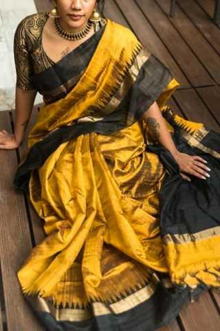 Grand Gold and Black Soft Silk Saree