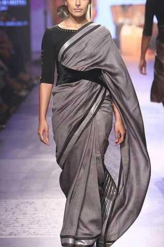 Charcoal Grey Classy Soft Silk Saree