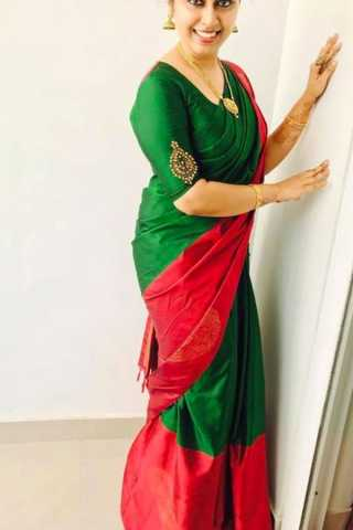 Green and Red Dazzling Soft Silk Saree