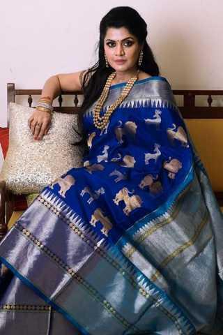 Regal Royal Blue Soft Silk Saree