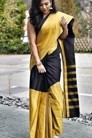 Attention Grabbing Yellow and Black Soft Silk Saree