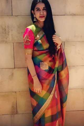 Checked and Multicoloured Striking Soft Silk Saree
