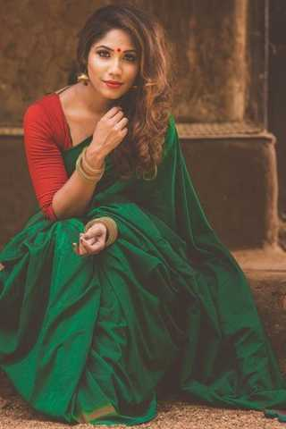 Look Gorgeous in Green With this Soft Silk Saree