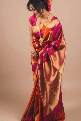Beautiful Grand Pink and Orange Soft Silk Saree