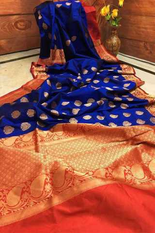 Dark Blue and Hot Pink Combination Upcoming Silk Saree With Blouse For Women - CD401  30""