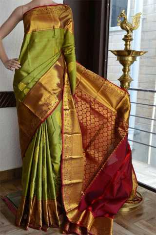 Green  golden Upcoming Silk Saree With Designer Pallu For Women - CD406