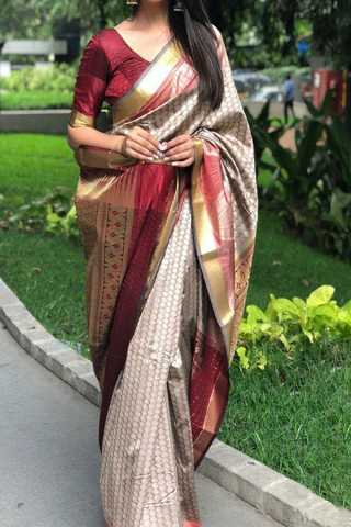 Dark Cream Dot Upcoming Silk Saree With Blouse For Women - CD408