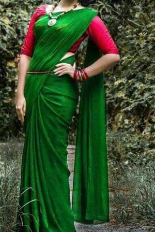 Deep Green Upcoming Silk Saree With Blouse For Women - CD409