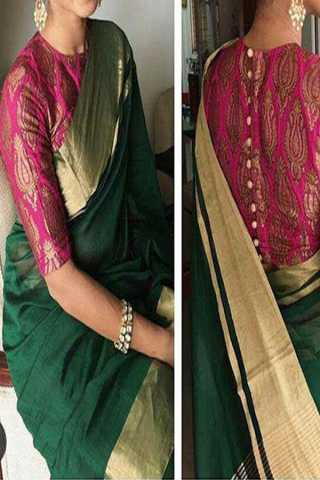 Bottle Green Upcoming Silk Saree With Beautiful Designer Blouse For Women - CD410