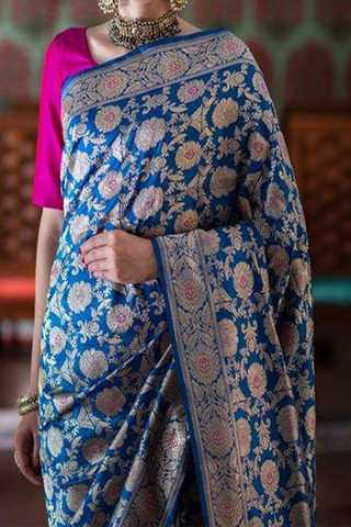 Blue Shade Designer Upcoming Silk Saree With Blouse For Women - CD412