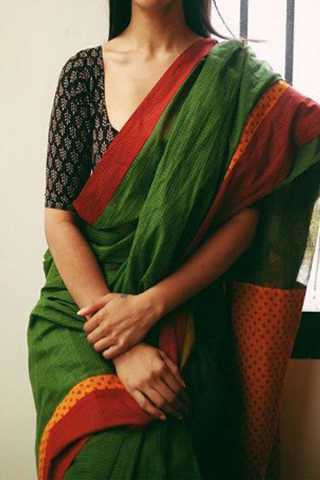 Deep Green Red Border Upcoming Silk Saree With Blouse For Women - CD413