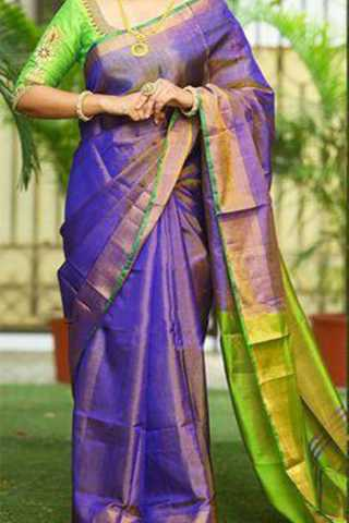 """Light Purple Silk Saree With Green Blouse For Women - CD421 30"""""""