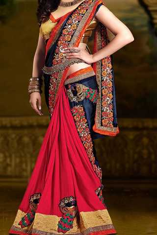Red and Blue Colored Silk Saree  With Blouse For Women - CD422