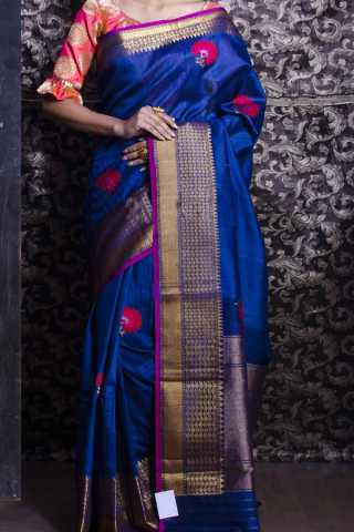 Blue Colored Traditional Silk Saree With Blouse For Women - CD424