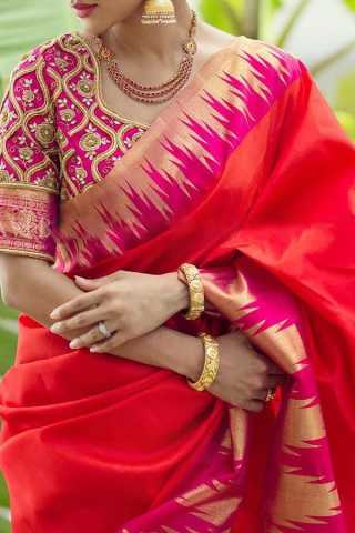 Red and Pink Colored Traditional Silk Sarees With Blouse For Women - CD445
