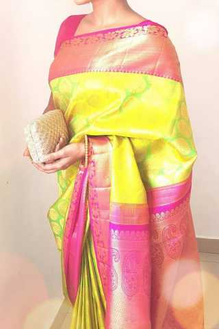 Yellow-Pink Colored Traditional Silk Sarees With Blouse For Women - CD454