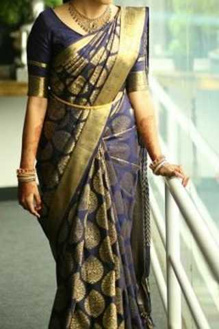Blue Colored Traditional Silk Sarees With Blouse For Women - CD460