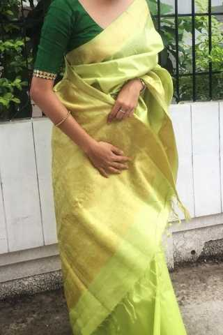 Light Pista Green Colored Traditional Silk Saree With Blouse For Women - CD467