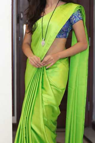 Green Colored Traditional Silk Saree With Blouse For Women - CD470