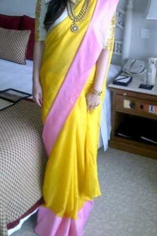 Yellow Colored Traditional Silk Saree With Blouse For Women - CD471