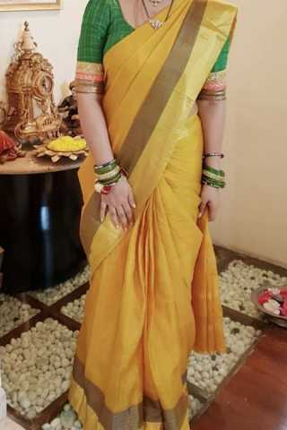 Yellow With Golden Border Traditional Silk Saree With Blouse For Women - CD474