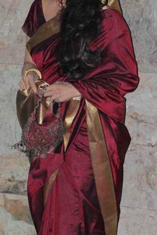 Maroon Colored Traditional Silk Saree With Blouse For Women - CD476