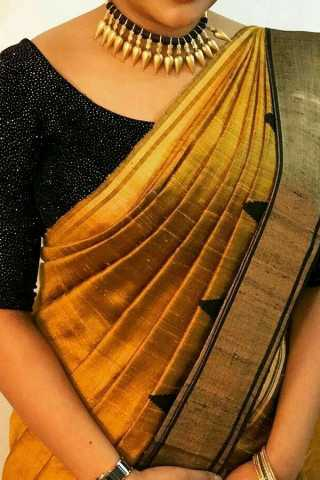 Golden Yellow With Black Colored Border Traditional Silk Saree With Blouse For Women - CD482