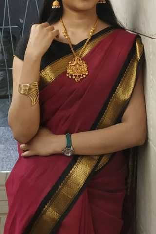 Maroon With Black Colored Border Traditional Silk Saree With Blouse For Women - CD485