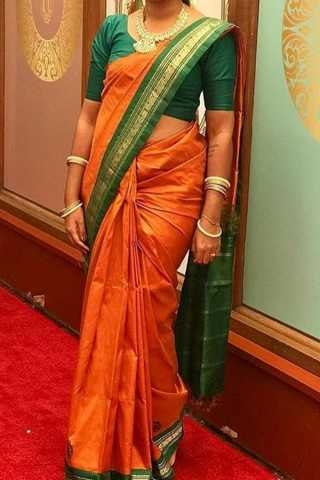 Orange With Green Colored Border Traditional Silk Saree With Blouse For Women - CD489