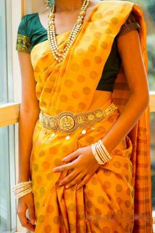 Yellow Colored Traditional Silk Saree With Blouse For Women - CD506