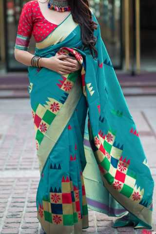 Cyan Colored Traditional Silk Saree With Blouse For Women - CD518