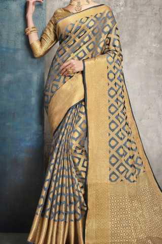 Grey Colored Traditional Silk Saree With Blouse For Women - CD521