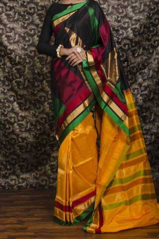 Multi Colored  Traditional Silk Saree With Blouse For Women - CD532