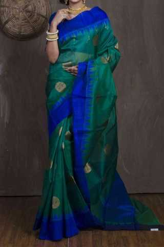 Rama Green Colored  Traditional Silk Saree With Blouse For Women - CD534