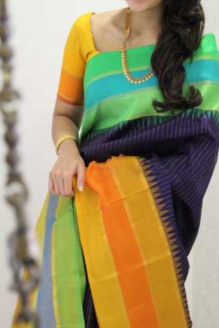 Multi Colored Traditional Silk Saree With Blouse For Women - CD541