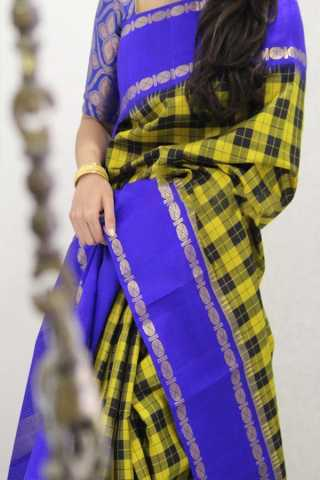 Yellow N Blue Colored Traditional Silk Saree With Blouse For Women - CD542